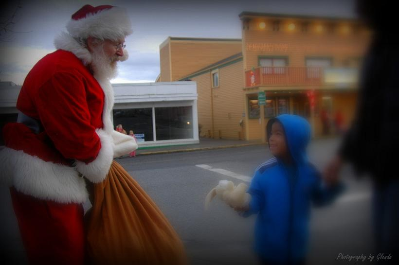 Christmas Eve At Friday Harbor.Santa Spreading Holiday Cheer On The Streets Of Friday Harbor